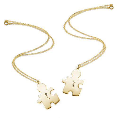 18ct Gold Plated Couple's Puzzle Necklaces - 3