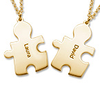 18ct Gold Plated Couple's Puzzle Necklaces