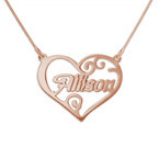18ct Rose Gold Plated Heart Name Necklace