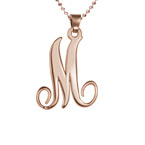 18k Rose Gold Plated One Initial Necklace