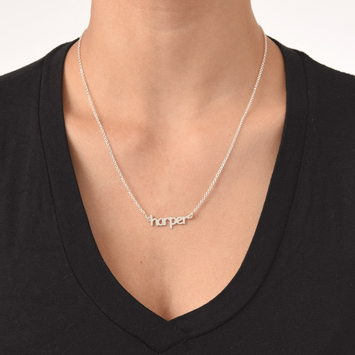 925 Sterling Silver Tiny Name Necklace - 2