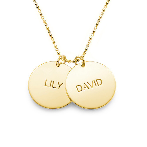 Personalised 18ct Gold Plated Disc Pendants