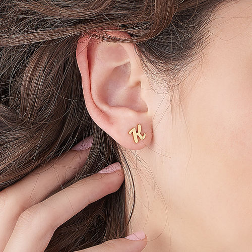 ABC Ear Studs with 18ct Gold Plating - 2