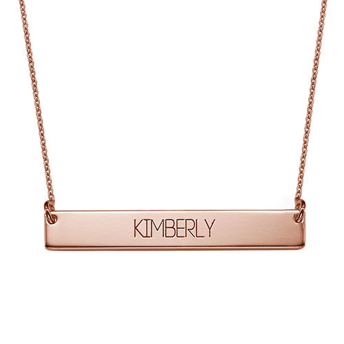 All Capitals Bar Necklace in Rose Gold Plating