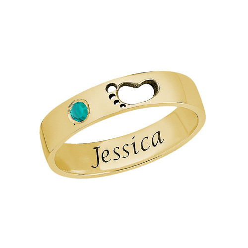 Baby Feet Ring with Inner Engraving in Gold Plated