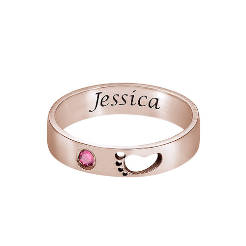 Baby Feet Ring with Inner Engraving in Rose Gold Plated - 1