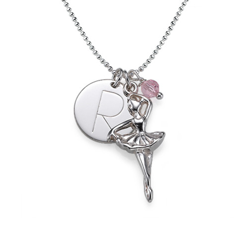 Ballerina Necklace with Engraved Disc Charm
