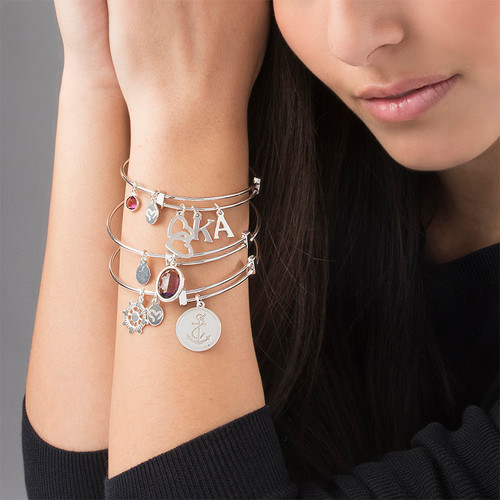 Bangle Charm Bracelet with Intertwined Hearts - 3