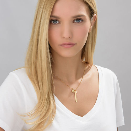 Bar Necklace with heart charm and pearl in Gold Plating - 2