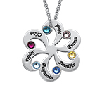 Birthstone Family Necklace - Flower Shaped