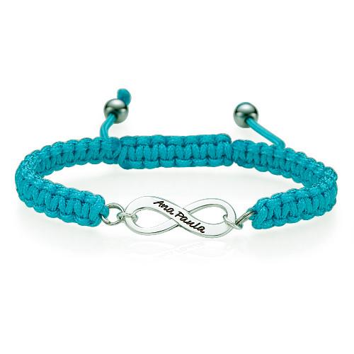 Blue Friendship Bracelet With Infinity Pendant