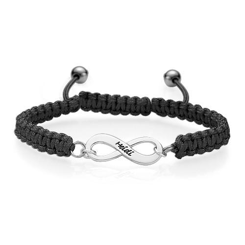 Blue Friendship Bracelet With Infinity Pendant - 1