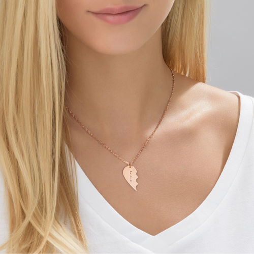 Breakable Heart Necklace Set - Rose Gold Plated - 1