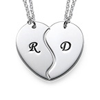 Breakable Heart Necklaces with Engraved Initials