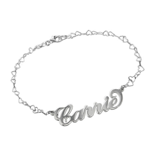Silver Carrie Name Bracelet With a Heart Chain