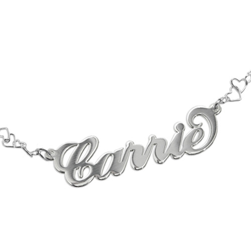 Silver Carrie Name Bracelet With a Heart Chain - 1