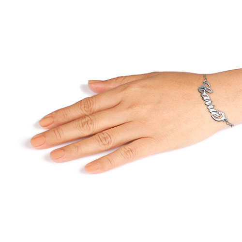 Silver Carrie Name Bracelet With a Heart Chain - 2