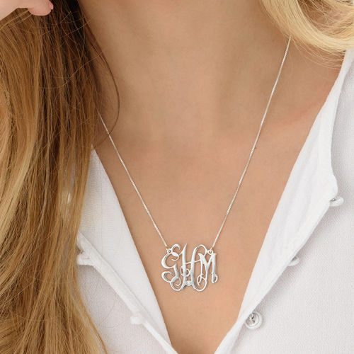Celebrity Monogram  Sterling Silver Diamond Necklace - 2