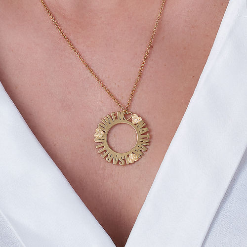 Circle Name Necklace in Gold Plating with Diamond Effect - 2