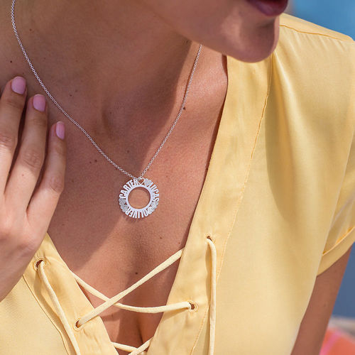 Circle Name Necklace in Silver Sterling with Diamond Effect - 3