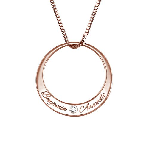 Circle Rose Gold Plated Necklace with Diamond