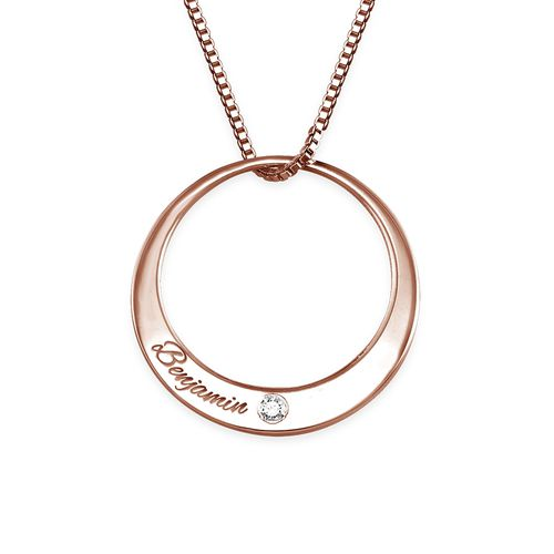 Circle Rose Gold Plated Necklace with Diamond - 1
