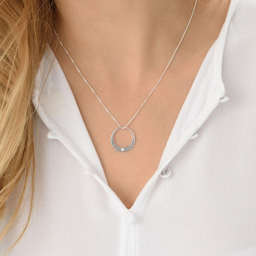 Circle Sterling Silver Diamond Necklace - 3
