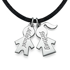 Cord Necklace with Silver Kids Charms Pendants
