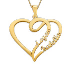 Couple Heart Necklace in 14ct Gold - Yours Truly Collection