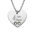 Couples Birthstone Heart Necklace with Engraving