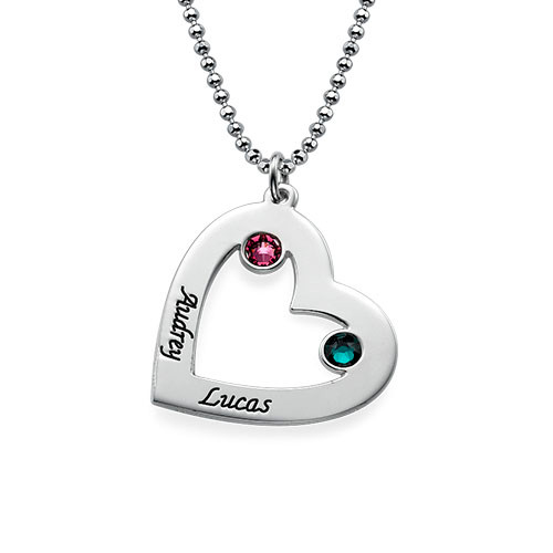 Couples Heart Necklace in Silver with Birthstones