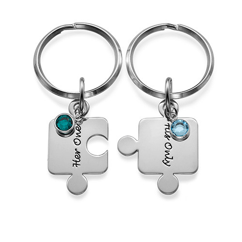 Couple's Puzzle Keyring Set with Crystal - 3