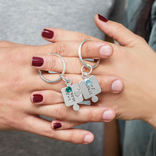 Couple's Puzzle Keyring Set with Crystal - 4
