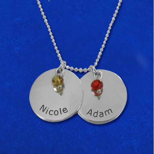 Couples Circle of Love Disc Necklace with Birthstones