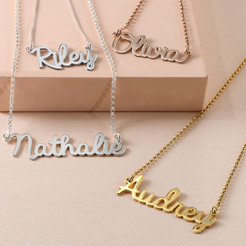 Cursive Name Necklace In Rose Gold Plating Mynamenecklace Au