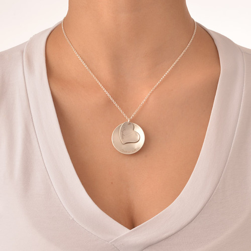 Curved Disc Necklace with a Heart Charm - 2