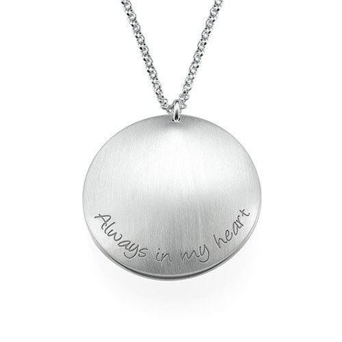 Curved Double Disc Family Necklace with Birthstones - 1
