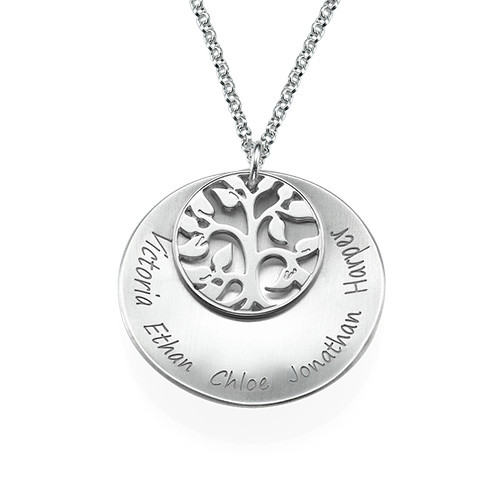 Curved Family Tree Locket Necklace