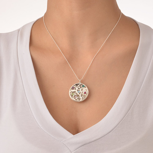 Curved Filigree Family Tree Necklace with Birthstones - 5