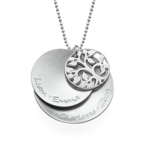 Curved Layered Family Tree Necklace in Silver - 1