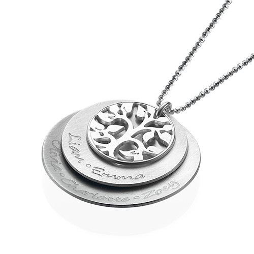 Curved Layered Family Tree Necklace in Silver - 2