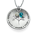 Curved Sterling Silver Family Tree Necklace