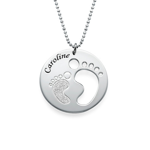 Cut Out Baby Feet Necklace with Sparkling Foot