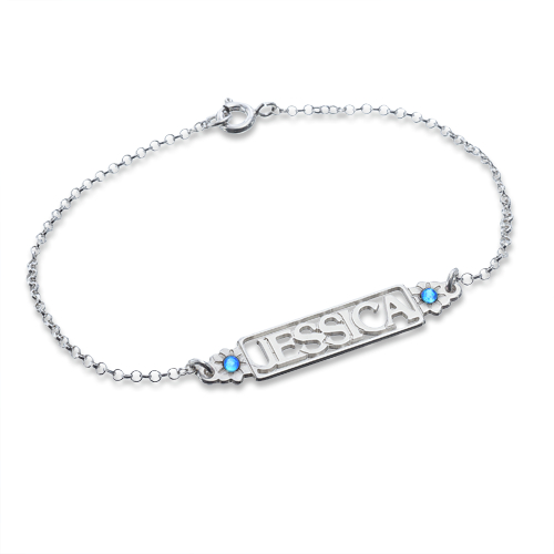 Cut Out Birthstone Name Bracelet - 1
