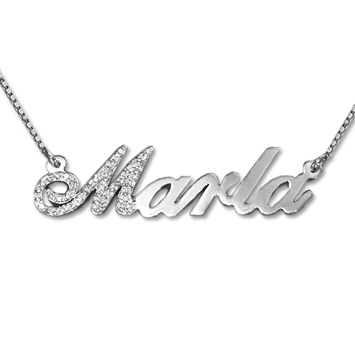 Diamond 1st Letter 14ct White Gold Name Necklace