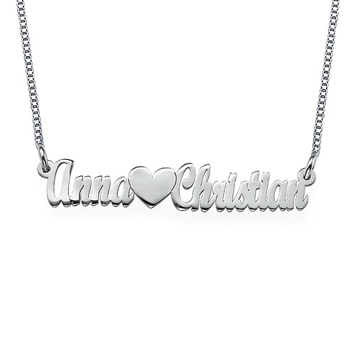 Double Strength Couples Name Necklace in Sterling Silver