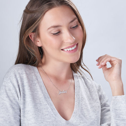 Double Thick Classic Name Necklace With Rollo Chain - 1