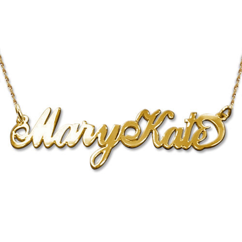 Double Thick Two Capitals 14ct Gold Name Necklace