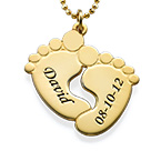 Engraved Baby Feet Necklace in 18ct Gold Plating