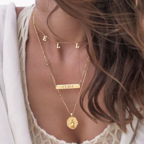 Engraved Bar Necklace in Gold Plating - 2